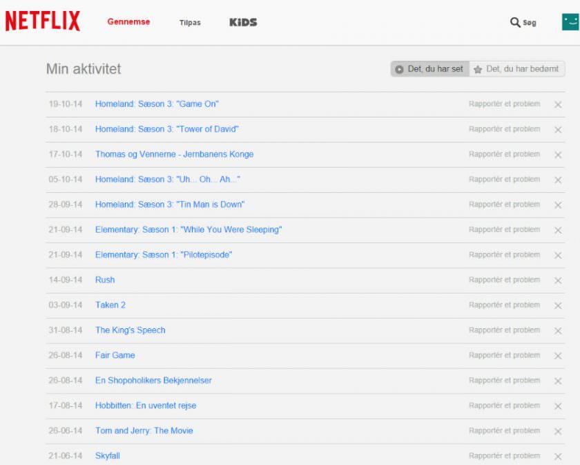 Sådan sletter du Netflix historikken