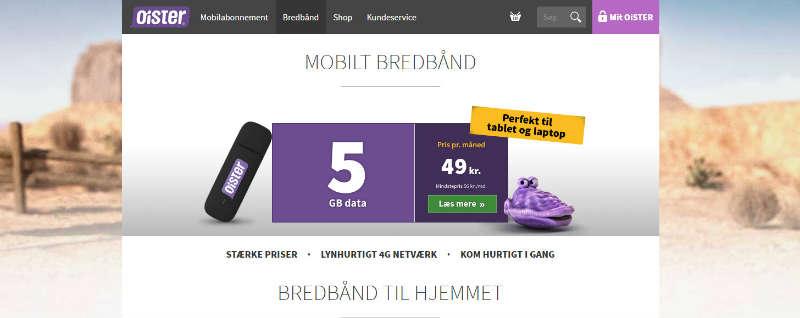 Oister ubegrænset mobil bredbånd